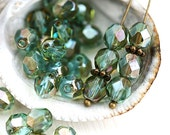 30pc Blue green beads, Celsian finish, Fire polished 6mm rounds, czech glass spacers, faceted beads - 1834