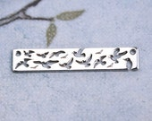 Silver Birds pendant, Flying birds charm, Sterling silver 925, connector, tag, jewelry making - 1pc - F397