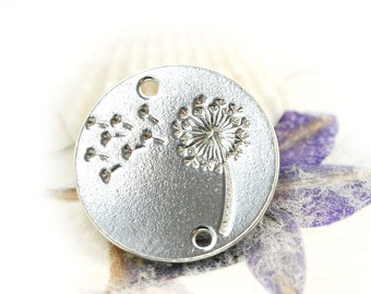 Silver Dandelion charm Connector, Sterling silver 925 flower, dandelion pendant, 14mm - 1pc - F493