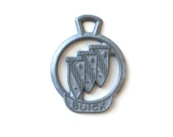 Vintage 1960s Buick Keychain Medallion, Metal Keychain, Car Key, Ring Tag, Key Fob, Logo Lanyard