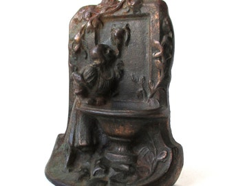 Antique Art Nouveau Book End, Maiden Girl, Water Fountain, Cast Iron, Door Stop, Sculpture