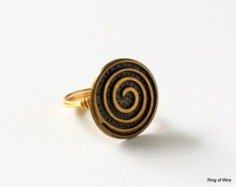 Spiral Button Ring, Metal Button Ring, Antique Brass Colored Ring, Button Jewelry, Statement Ring, Round Button Ring, Wire Wrapped Ring