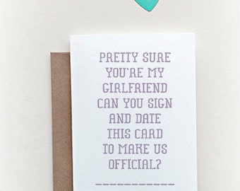 "Let's ""Make it Official"" greeting card, dating card, relationship card, new girlfriend, new relationship"