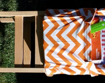 CHAIR POCKETS // Teacher Classroom Organization //Seat Sacks //Orange Chevron Duck // 14 inch Deluxe / End of Year SALE // School Storage