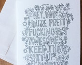 Decorative quote card - blank inside - measures 4.25x5.5 - encouragement, awesome