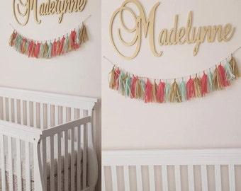"Connected Wooden Name - Metallic Painted - Gold or Silver - 18"" Size - Large Size Cursive - Wood Letters - Personalized Nursery Family Decor"