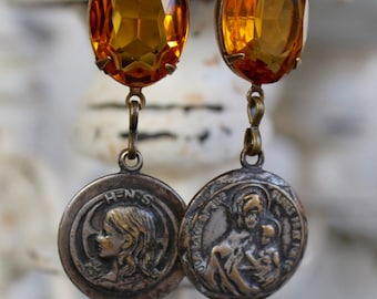 Assemblage Earrings, Religious medals, Holy Name Society, Swarovski, Catholic, Devotional , Our Lady of the Olives, Amber spiritual jewelry