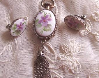 Toilet Pendant and Earrings Set Flowers Transfer Destash Upcycle Repurpose Clock Style Vintage Costume Jewelry MoonlightMartini