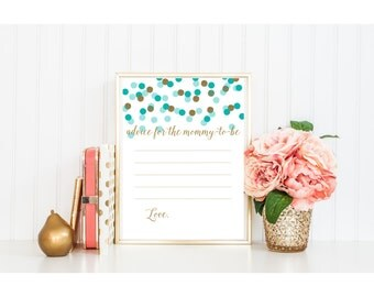 BABY shower printable games activity advice for mommy to be gold glitter blue teal aqua turquoise mint dot calligraphy cursive pdf jpg