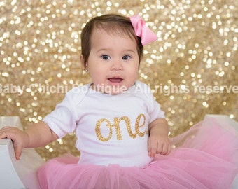 Pink and gold first birthday outfit First birthday outfit One gold glitter heart 1st birthday girl outfit Pink and gold tutu