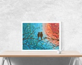 Love Birds Art Print - Teal and orange giclee print of two love birds watching the sunset, great Mother's Day gift