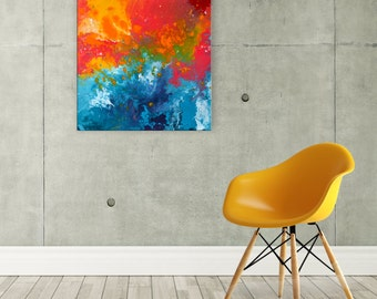 Abstract Orange & Blue Painting - Abstract Canvas Wall Art in Teal, Turquoise, Orange, and Red - Original Acrylic Wall Art by Louise Mead