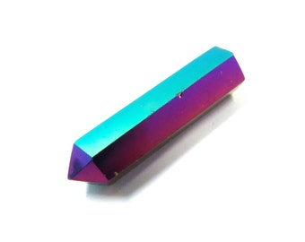 Titanium Aura Quartz 1 Rainbow Crystal Point 32mm x 8mm Polished Double Terminated Stone for Wire Wrapping & Jewelry Making (Lot 9972)
