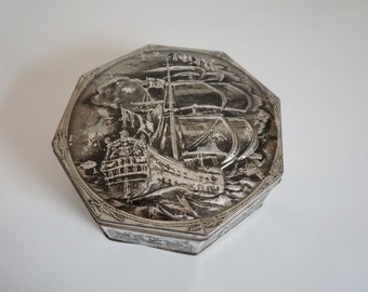 Vintage Metal Tin Octagon Shaped Storage Box with Hinged Lid Silver Color with Nautical Ship Scene - Floyd Jones Vintage