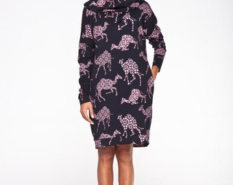 WINTER SALE -20% Black hooded dress with pink camels pattern