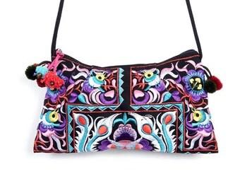 Colorful Messenger Bag Pom Pom Strap Embroidered Fabric Thailand (BG137WEL-16C2)