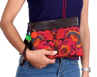 Flower Cosmetic Bag With Removable Leather Strap Thailand (BG282AW-20C4)