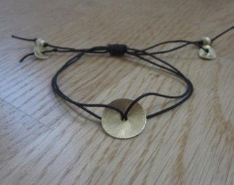 Friendship Bracelet, Wish Bracelet, Handwoven Macrame Bracelet, Gold Disk Bracelet, Valentines Day Gift