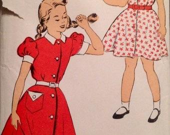 "Vintage 1940s New York Girls' Dress Pattern 1244 Size 8 (26"" Chest)"