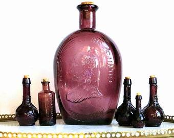 Violet Purple Bottles Collection Amethyst Glass Vintage Bottles Set of Six