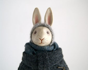 cassis - porcelain white rabbit doll - handmade bunny - grey - art doll - collectable