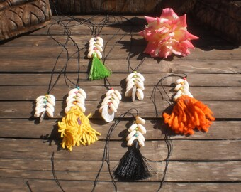 Cowrie Shell Decorations, Set Of 7 Cowrie Tails