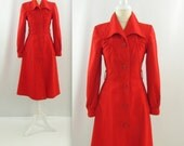 Cherry Red A Line Coat - Vintage 1970s Spring Jacket in Small by Fashion Council