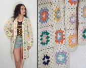 RESERVED For K. Afghan DUSTER Sweater 1970s // Granny Squares Cardigan Maxi Length Multi-color