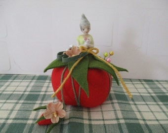 Vintage Pixie Half Doll Porcelain on Red Tomato Pincushion Sewing Notion Handmade Up-cycled, Vintage Materials Pins, Flowers, Doll