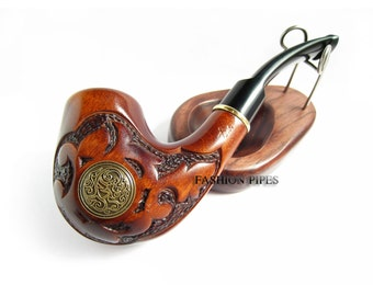 "Fashion TOBACCO Pipe Handcrafted ""NORDIC"" Smoking Wooden Fashion Style Pear Wood pipes Handmade Smoking Bowl"