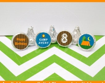 Camping Chocolate Kiss Stickers - Camping Candy Stickers - Outdoor Themed Stickers - Candy Kiss Sticker - DIGITAL and PRINTED