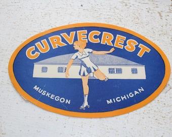 Vintage 1950s Roller Rink Sticker Curvecrest Muskegon Michigan Roller Skating