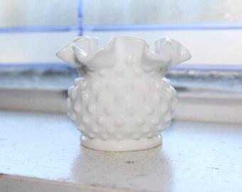 Vintage Milk Glass Hobnail Vase with Ruffled Rim