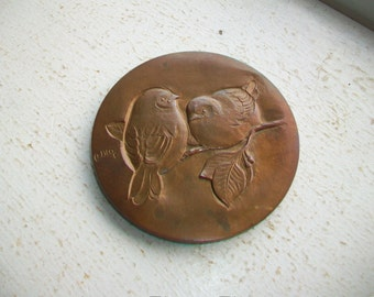 Andre Bloc Bronze Relief Medallion Two Birds and Tree of Life Vintage Art Medal