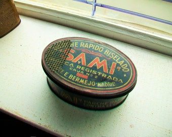 Antique Tire Patch Tin Spanish Sami Tin
