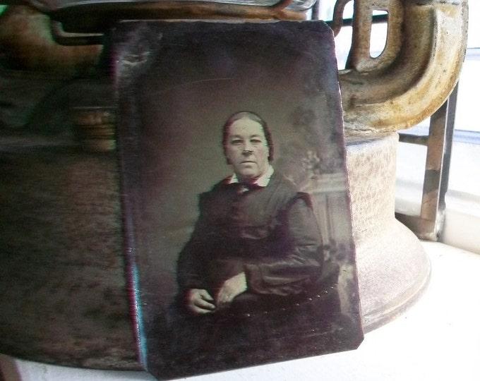 Antique Tin Type Photograph of a Woman Circa 1850-1860s