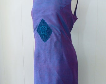60's Cocktail Dress Plus Size Iridescent Blue Purple Silk Embroidered Shift Sheath Party Dress