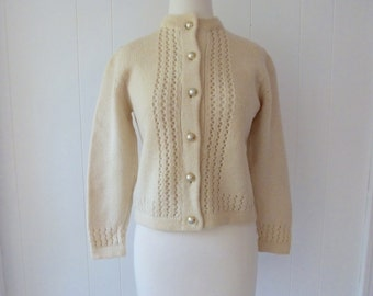 50's Cream Wool Cardigan Sweater Made in Italy Cable Knit Jumper Mary Lewis M L