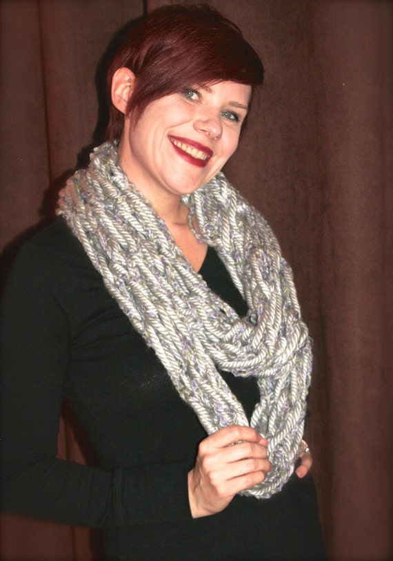 Chunky Gray w/green and lavender Arm knit Infinity loop scarf