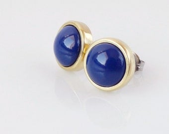 Dark blue and gold studs. Swarovski Dark Lapis pearl stud earrings. Simple jewelry for her.