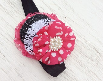 Girl headband baby girl headbands black pink fuchsia whimsical headband matilda jane headband chiffon flower fabric flower Vintage headband