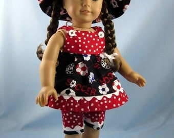 Doll Clothes 18 Inch - fit American Girl - 18 Inch Doll Clothes - Three-Piece Summer Play Outfit - Red and Black Soccer Print