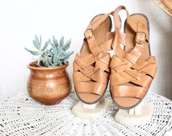 Vintage Woven Caramel Leather Sandals/ 7.5
