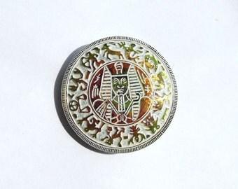 Czech Glass Egyptian Revival Iridescent Zodiac Buttons 35mm
