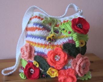 Crochet flowers pouch...Handmade art bag...