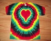 S M L Xl 2x 3x 4x 5x 6x Heart Tie Dye- Kids Adult Plus Size tie dye Rasta Heart Shirt