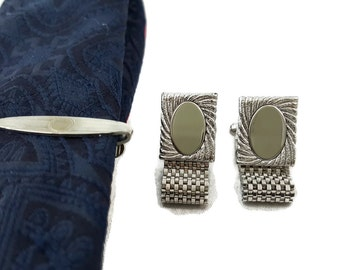 Vintage Cufflinks Set Silver Mesh Wrap Cuff Links and Tie Bar Set Vintage Cuff links For Dad Gift for him
