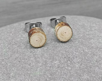 Tiny Birch Wood Stud Earrings - Wood Slice Post Earrings - Petite Birch Bark Earrings with Surgical Steel