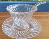 Fostoria Colony Mayo Bowl and Spoon Set/Wedding Gift Set/ Fostoria Glass Collection/ Mayonnaise Serving Bowl