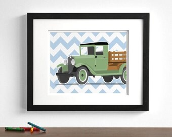 Vintage Truck wall art - childrens transportaion art - Wood Bed, - pick your colors- retro truck prints - childrens wall art, boys wall art